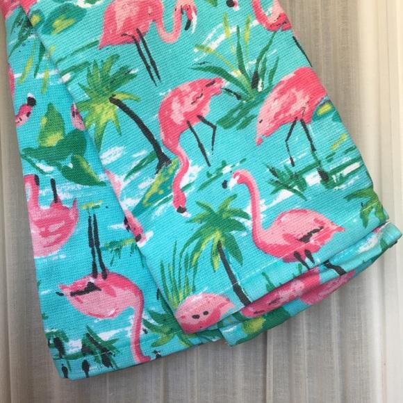 Kitchen Towels Flamingo Aqua Green Palm Tree Beach